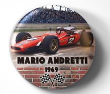 Mario Andretti Indianpolis 50 1969 Indy Car - pin pinback button - FREE Shipping