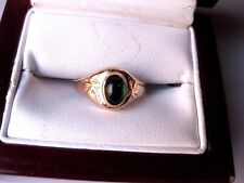 VINTAGE RUSSIAN 583 ROSE GOLD RING with FINE NATURAL GREEN TOURMALINE