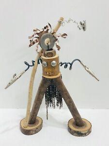 Found Object Robot Warrior Sculpture Assemblage Steampunk Twig Artist Signed