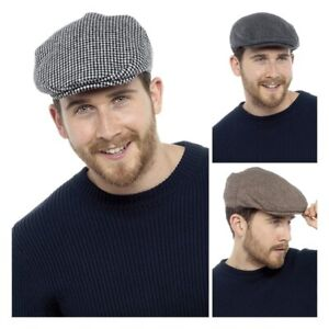 Mens Flat Cap Traditional Peaked Country Hat Bunnet Dai Cap