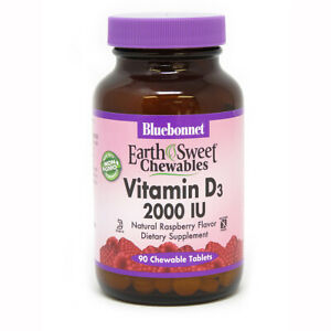 Blue Bonnet Vitamin D3 2000 IU Raspberry 90 Tablets Made in USA FREE SHIPPING