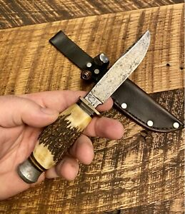 Old, Vintage, Stag, Othello, Solingen, Germany, Hunting Knife, Sheath, Wingen