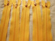 lot 5 fermetures éclairs jaune orangé   20 cm non- séparable  A 32