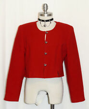 RED ~ WOOL German Women SHORT Fitted DUCK BUTTONS Dress Suit JACKET Coat 44 10 M