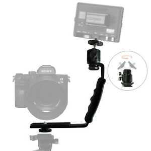 "Camera L bracket Ballhead Mounts Dual Flash Cold Shoe Mount 1/4"" Tripod Screw"