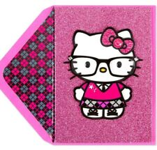 PAPYRUS Greeting Card BLANK Hipster Hello Kitty Geek Glass Glitter ALL OCCASIONS