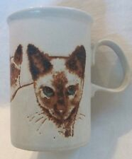 Dunoon Pottery Siamese Cat Stoneware Cup Mug Scotland Brown Blue  Kittens 1970's