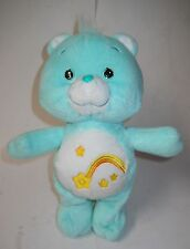 "CARE BEARS WISH BEAR, 10.5"" LIGHT TEAL PLUSH W/SHOOTING STAR BELLY BADGE, 2002!"
