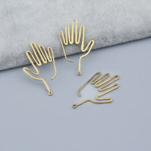 30x Gold Hollow Out Filigree Hand Charms Pendants For Jewelry Earrings Making