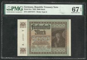 Germany - 5000 Mark 1922 - Pick 81a - PMG 67; EPQ - Superb Gem Uncirculated