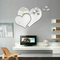Removable Hearts Mirror Wall Stickers DIY Silver Art Mural Decal Home Room Decor