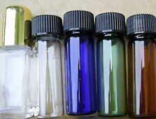 5 different 1 dram color GLASS BOTTLES Vials Clear Amber Green Blue Gold dob