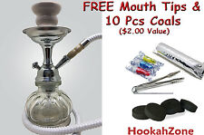 "Small 10"" White Hookah Pumpkin Glass Shisha Smoking Pipe 1 Hose Hooka"