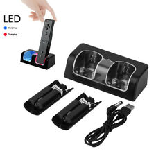 Dual Wii Remote Handle Charger Charging Station +2 Recharge Battery Packs Dock