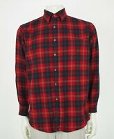 Pendleton Tartan Plaid Flannel Virgin Wool Button Shirt Mens Medium