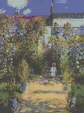 Monet Garden En Vetheuil puntada cruzada contada Kit 12x16