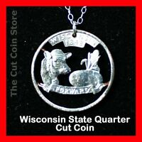 Wisconsin 25¢ WI Quarter Cut Coin Necklace Badger State America's Dairy Land
