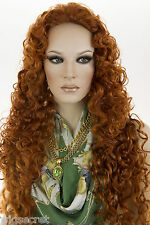 Fire Red (Vivid Orange Red) Red Medium Curly 3/4 Cap Wigs