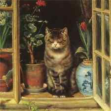 Oil painting Dozing cat in a window with flowers landscape hand painted in oil