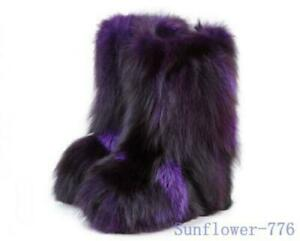 MultiColor Womens Genuine Fur Ankle Boots Fluffy Hidden Wedge Snow Shoes Fashion