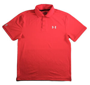 Mens Under Armour Polo Playoff Golf Shirt Short Sleeve Neon Coral L DEFECT