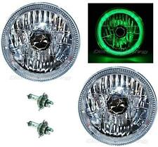 "55 56 57 Chevy Halogen Green LED Halo Headlight Headlamp H4 Light Bulbs 7"" Pair"