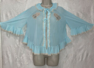 VTG M Ocean Blue Nylon Bed Jacket Peignoir Robe Ruffles w lace for nightgown
