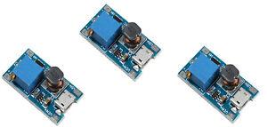 3xEinstellbares Boost Modul 2A Wandler Micro USB 2V-24V auf 5V 9V 12V 28V MT3608