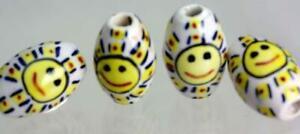 Peruvian Hand Painted Ceramic* BEADS *Glazed OVAL x 10  v074