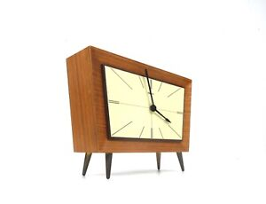 STUNNING RARE ORIGINAL 60S MID CENTURY TEAK TABLE CLOCK BY HERMLE GERMANY