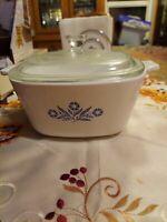 Dish w Lid Vintage Corning Ware Casserole 1.75 Qt CORNFLOWER BLUE P 1 3/4-B