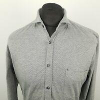 HUGO BOSS Mens Shirt MEDIUM Long Sleeve Grey Slim Fit No Pattern Cotton