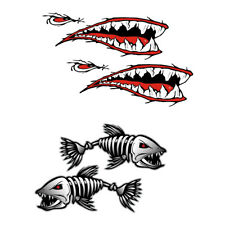 4 Stück Haifischzähne Mund / Skelett Fisch Aufkleber Aufkleber für Kajak Kanu
