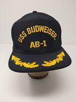 Vintage USS Budweiser AB-1 New Era Pro Model SnapBack Sz M/L Blue Cap EUC Hat