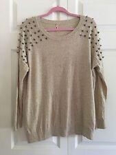 SweeWe Women's Beige Silver Spike Stud Shoulders Sweater Shirt Top Size S