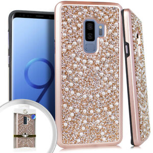 For Samsung Galaxy S9 / S9+ Plus - HYBRID ARMOR CASE ROSE GOLD DIAMOND PEARLS
