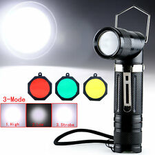 Adjustable Angle CREE XM-L T6 LED 1800Lm Flashlight Torch 5-Modes +Filter