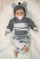 Bebe Lifelike Toddler 20'' Handmade Reborn Boy Baby Doll Soft Silicone Toy Newly