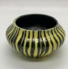 Vintage Small Bowl or Tealight Holder. Bold black and yellow stripes