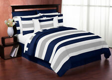 Sweet Jojo Designs Modern Navy Grey Kids Twin Bedding Set for Teen Boys Bedroom