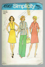 SIMPLICITY 6987 sewing pattern dress top pant vintage Sz 14  1975