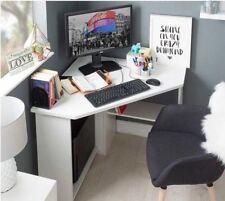 Corner Computer Desk White Wooden Small Table Study Workstation Desktop Laptop