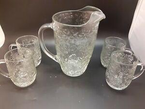 Mint vintage PRINCESS HOUSE GLASS Fantasia LARGE PITCHER & 4 HANDLED MUGS SET