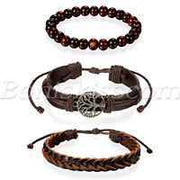 3pcs Mens Womens Ethnic Leather Hemp Cords Wood Beads Wristbands Wrap Bracelets