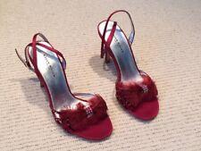 Ultra sexy red satin strappy high heels, Karen Millen, size 36, EUC