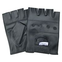 Wheelchair Fingerless Biker Punk Goth Driving Cycling Glove Real Leather gym 501