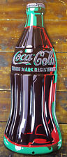 COCA COLA SODA POP COKE BOTTLE SHAPED HIGHLY EMBOSSED METAL ADVERTISING SIGN