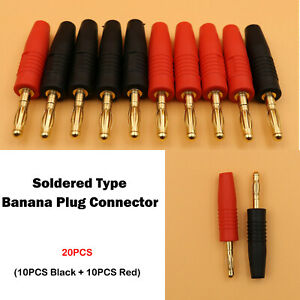 20PCS Red Black Wire Soldered Type Gold-Plated Brass Male Banana Plug Connector