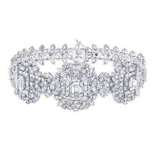 18K White Gold Baguette Diamond Bracelet Womens Wide Round Square Emerald Shape