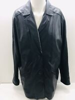 Wilson Black Leather Jacket Woman's Size Medium Two Buttons Jacket